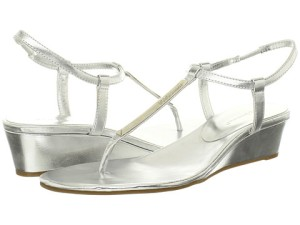 Metallic sandals work beautifully for casual or dressy occasions. BCBG, Zappo's